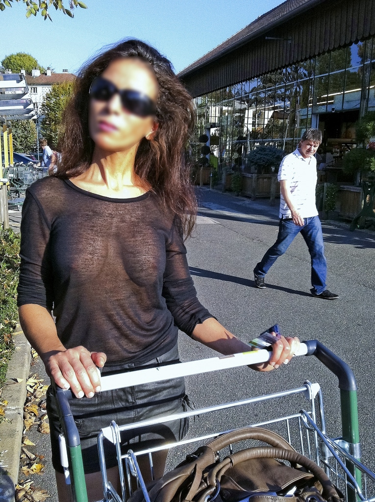 Hot wife shopping in see through shirt