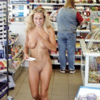 Blonde girl naked in a convenience store