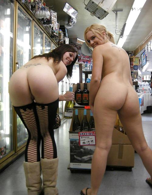 Girls naked in convenience store