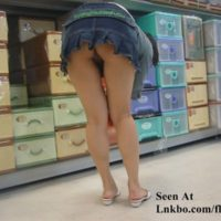 Wife shopping with no panties and a short skirt