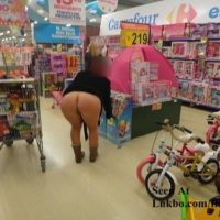 wife flashing ass in store