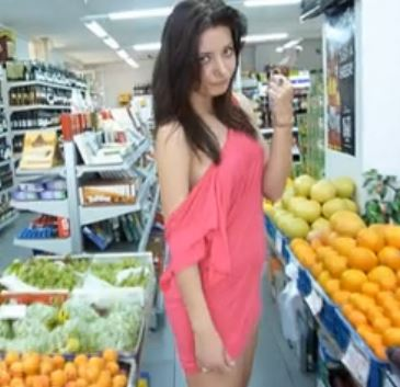 naughty slut flashing in public