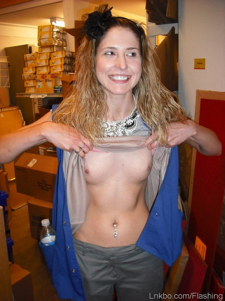 girls flashing at work