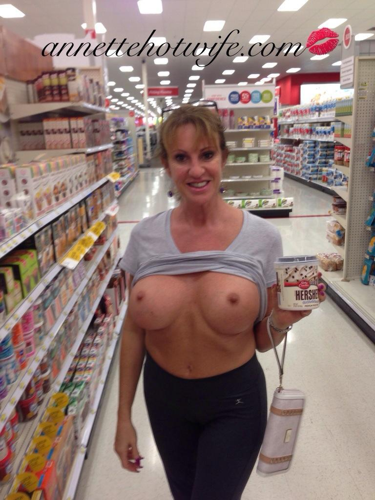 Hotwife Topless in Target - Flashing in Stores