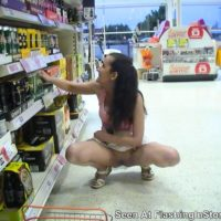 Sheila from the UK flashes her pussy in the grocery store