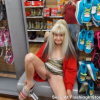 MILF flashing her hungry pussy in the shoe store