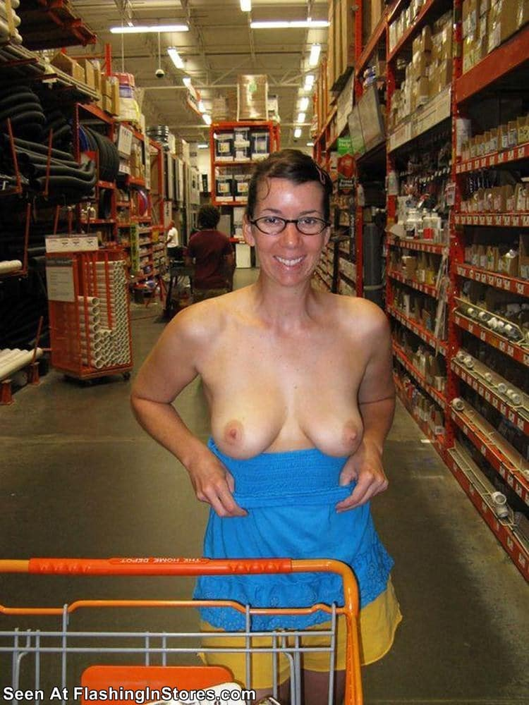 wife flashing her tits in Home Depot
