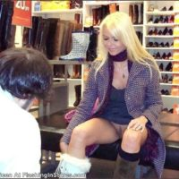 blonde pussy flash shoe store