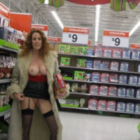 Wife flashing christmas shopping