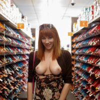 hot girl boobs out shoe store