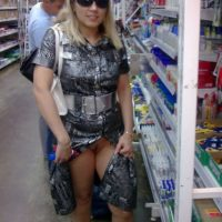 Blonde wife flashing pussy in public