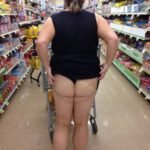 Stacy42G flashing her ass in the grocery store