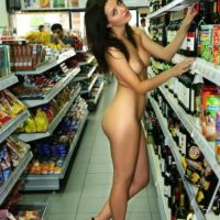 woman naked shopping