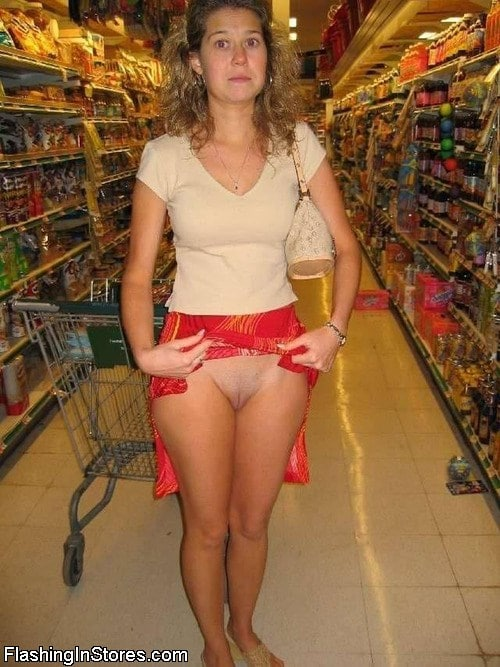 Wife showing off that she isn't wearing any panties while grocery shopping