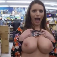 pornstar flashing boobs in convenience store