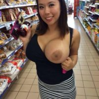 asian girl one boob out flash
