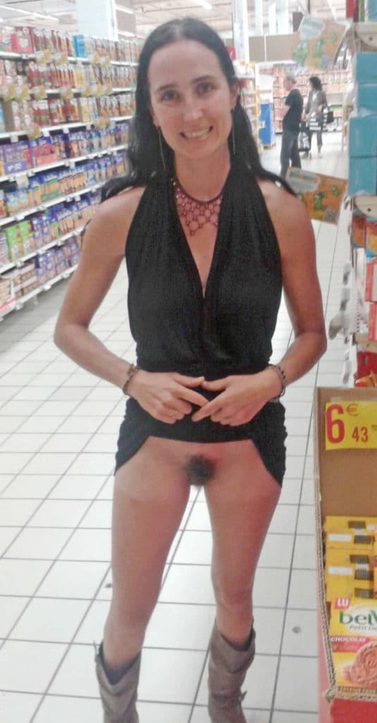 Naughty girlfriend flashing her pussy in the grocery store.