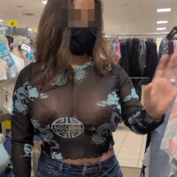 hot mom Jade in a see-through top showing off her tits in public