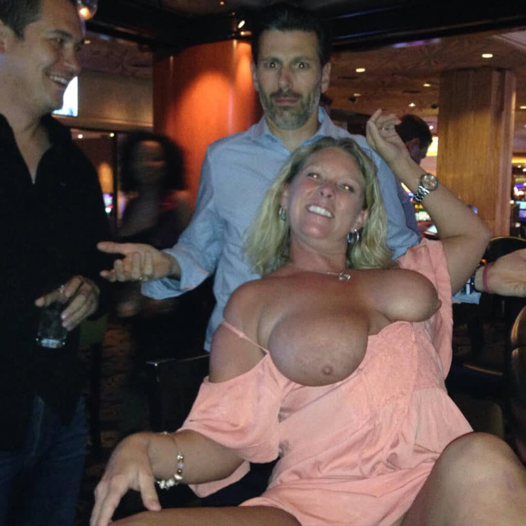 Hotwife May boobs out in the club